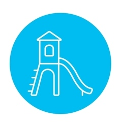 Playground with slide line icon vector image