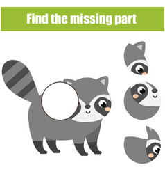 Puzzle for toddlers find the missing part of vector