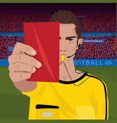 Referee whistling holding red card vector