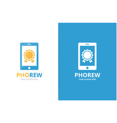 reward and phone logo combination trophy vector image
