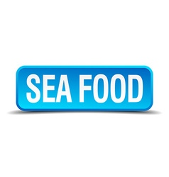 Sea food blue 3d realistic square isolated button vector