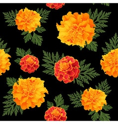 Seamless pattern of marigolds dark vector