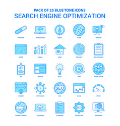 Search engine optimization blue tone icon pack vector