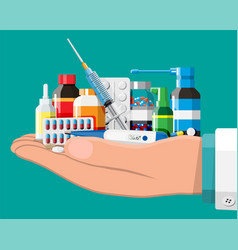 set bottles tablets pills capsules and spray vector image