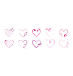 set heart frame decorated with pink watercolor vector image
