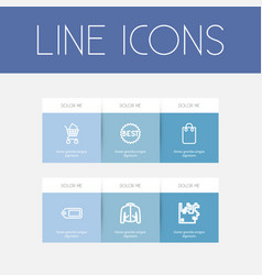 Set of 6 editable business icons includes symbols vector