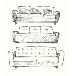 Set of hand drawn sofa vector image vector image