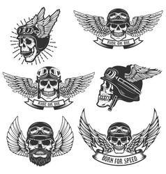 set of skulls in winged motorcycle helmets design vector image