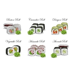 sushi color sketch set vector image