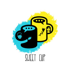 sweet cup love concept love coffee logo vector image