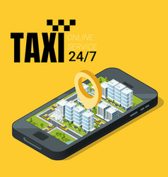 Taxi service concept smartphone with isometric vector