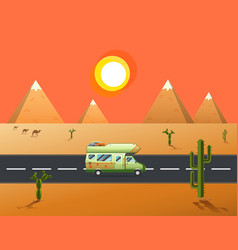 traveler truck driving on the road to desert and vector image