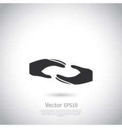 Two hands symbol sign icon logo template for vector