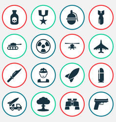 Warfare icons set collection of slug chopper vector