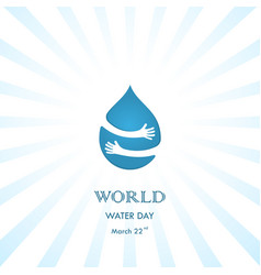 Water drop with human hand logo design vector