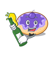 With beer donut blueberry mascot cartoon vector