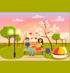 Young male and female sits on bench and holds gift vector