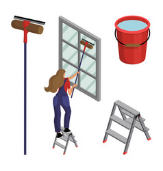 Young woman in overalls washes window vector
