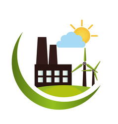 green factory building icon vector image vector image