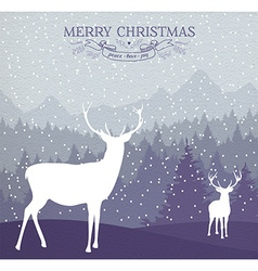 Merry christmas winter card holiday deer vector image vector image