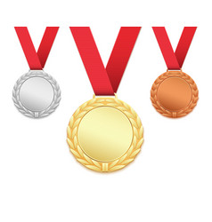 Set of three medals isolated on white vector image