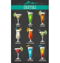 Alcohol cocktail set vector image
