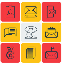 set of 9 social icons includes edit mail vector image vector image