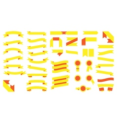 Set of beautiful festive colored yellow ribbons vector