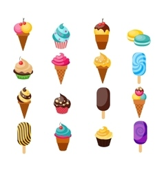 Sweets Cupcakes Icon Set vector image vector image