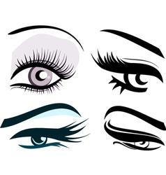 Beautiful girls eyes set vector image