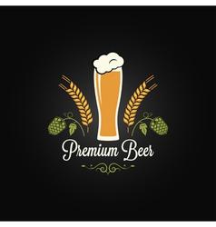 beer glass hops design background vector image vector image