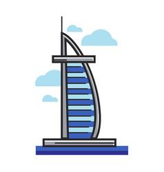 burj al-arab hotel arab emirates dubai vector image vector image