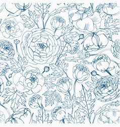 floral seamless pattern with blooming ranunculus vector image vector image