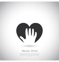 Hand holding heart symbol sign icon logo vector