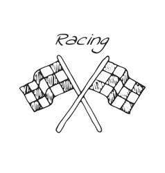 Racing flag in a drawing style vector image