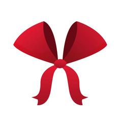 Red bow ribbon decoration xmas celebration vector