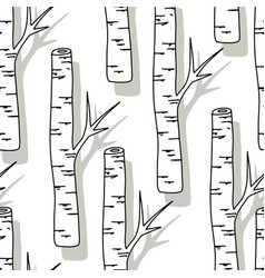 birch tree pattern black and white trees seamless vector image