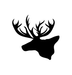 black silhouette head reindeer white background vector image