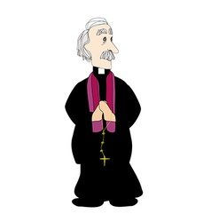 Catholic priest on a white background vector image vector image