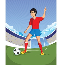 football soccer player is number one in a stadium vector image