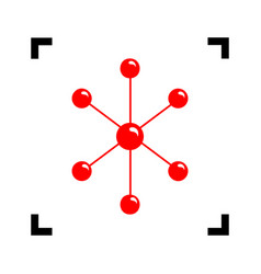 molecule sign red icon vector image