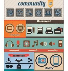 Set of retro social media icons vector image