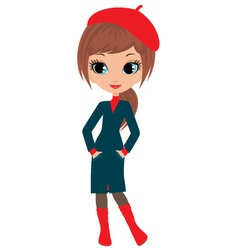 woman cartoon in a coat vector image