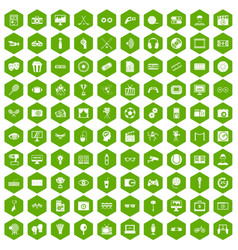 100 video icons hexagon green vector image