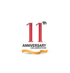 11 anniversary celebration logotype with red vector