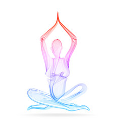 Abstract womans silhouette yoga pose asana vector
