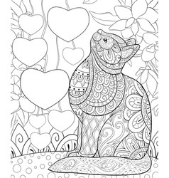Adult coloring bookpage a cute cat on the vector