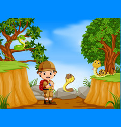 Adventurer and snakes with mountain cliff scene vector
