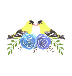 American goldfinch couples on rose twigs vector