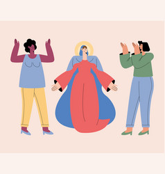 Assumption mary and women vector